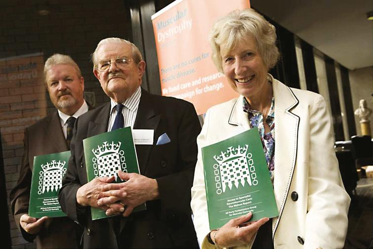 Launching the Walton Report on 24 August 2009 – Dave Anderson Member of Parliament (Chair of All Party Parliamentary Group), John Walton and Baroness Celia Thomas (Vice Chair).