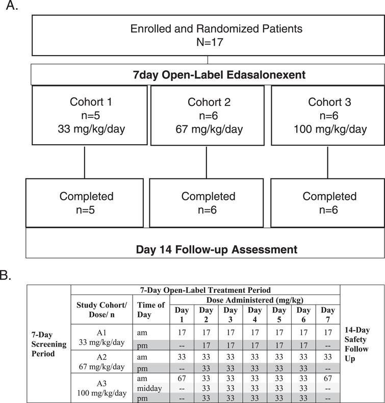 A. Study Design and Disposition of Patients, B. Dosing Schedule for Day 1–7.