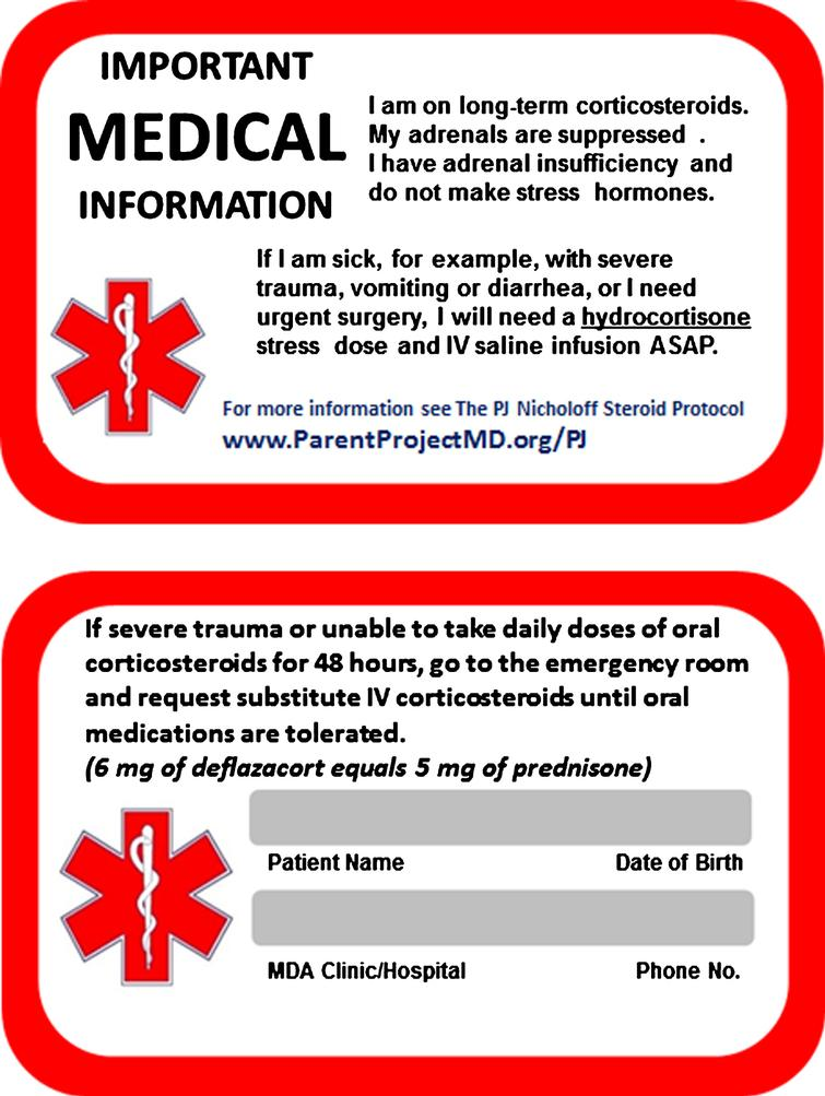 Steroid emergency card, front and back. A complete DMD emergency card that includes all aspect of care for patients with DMD is available at the Parent Project Muscular Dystrophy website [49].