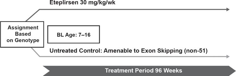 Study design for eteplirsen study 301. In this open-label study, patients with DMD (N=71) received weekly IV infusions of eteplirsen 30mg/kg and had both baseline and post-baseline FVC% p. An interim analysis was conducted at year 2 (96 weeks) for all patients who reached that time point. Respiratory function assessments included FVC% p as an exploratory endpoint. BL, baseline; FVC% p, percent predicted forced vital capacity.