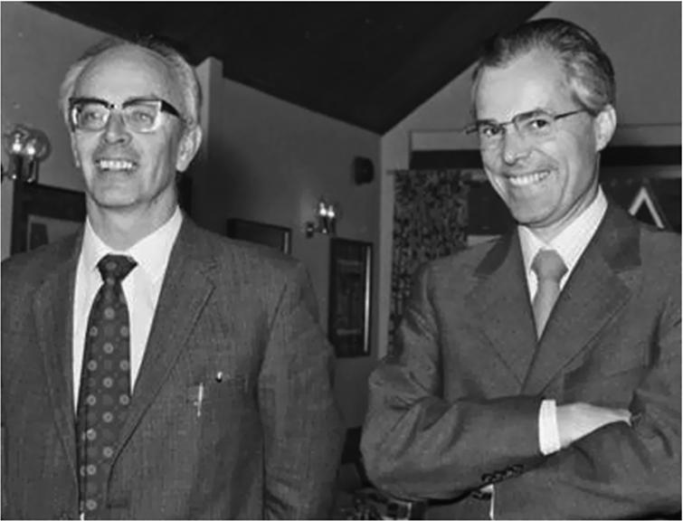 Mike Lomer and Rudolf Mössbauer, ILL Directors (1974).
