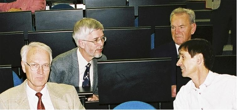 The BS clan: from left to right: Anton Heidemann, Michel Prager, Bert Alefeld, and Bernard Frick, at the ILL in (2003).