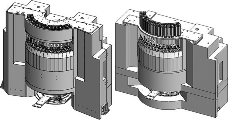 Entire monochromator shield of Cold-TAS: Mark II(Left) and Mark III (Right) [1].