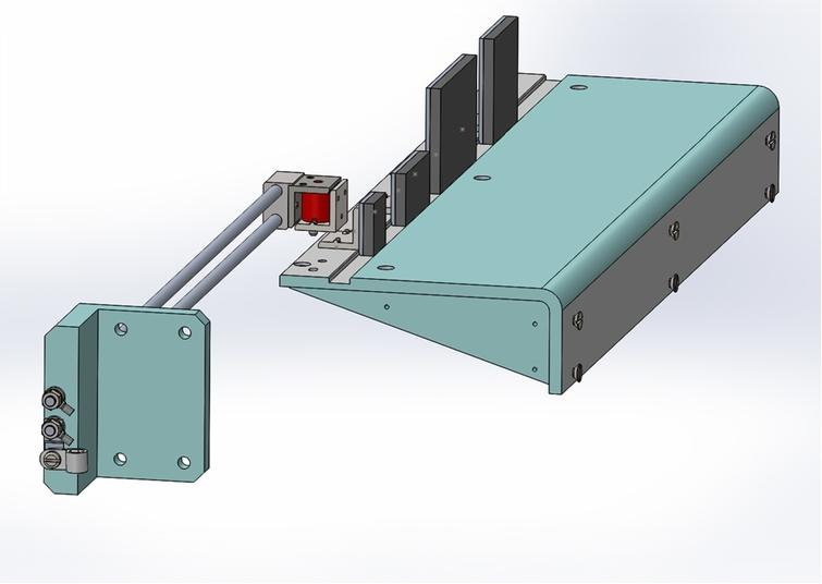 CAD side view of the beam stop device.