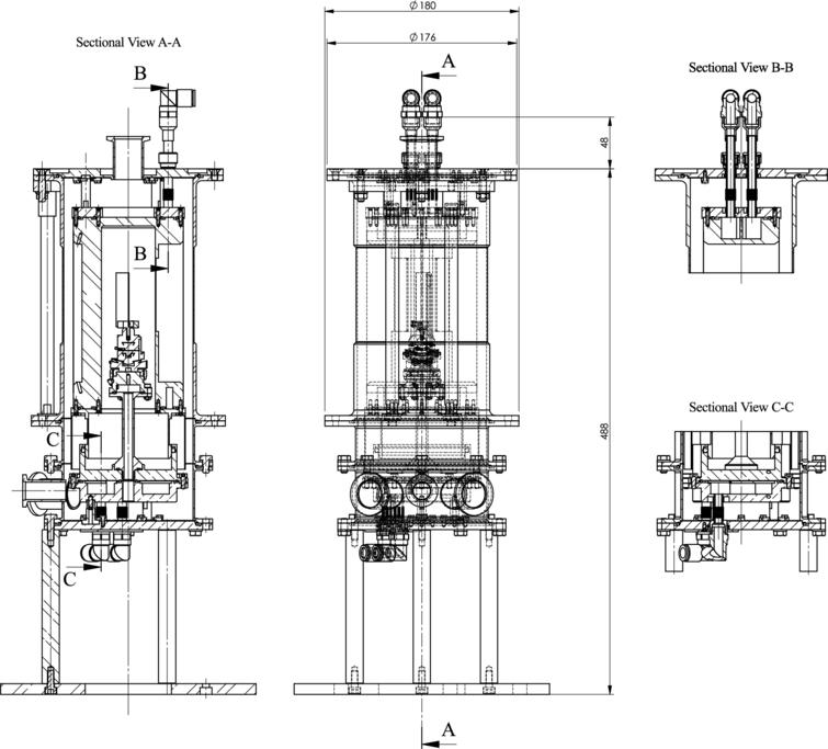Drawings of the humidity chamber produced with SolidWorks [7]. Sectional view A-A shows the interior of the cell and sectional views B-B and C-C show respectively details of the circuitry of the upper (sample) and lower (water bath) parts of the chamber.