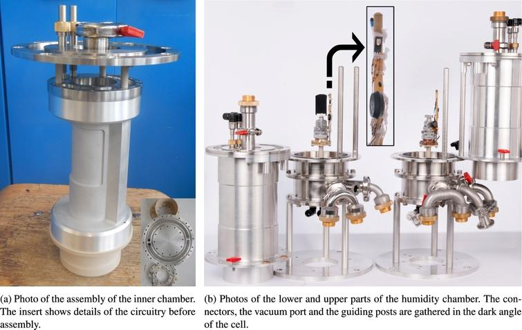 Photos of humidity cells built during this project. Inner chambers as the one shown in photo (a) are mounted inside the upper part of the cells shown at the right of photo (b). The inset in (b) shows the detailed assembly of the sensors placed in the dark angle.