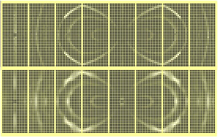An example of combination of elementary textures to represent a complex texture. Top panel: diffraction pattern in an octagonal detector system of an aluminium foil with a hypothetical ideal fibre texture. Bottom panel: same, with the texture represented by a distribution of mosaic single crystals with uniformly random orientations in the perpendicular plane to the aligned axis.