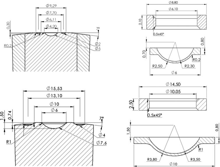 """Top row: anvil profile (left) and corresponding gaskets (right) for sintered diamond anvils presented in this work (""""SD SINE anvils""""). Bottom row: standard single-toroidal profile & gaskets for comparison."""