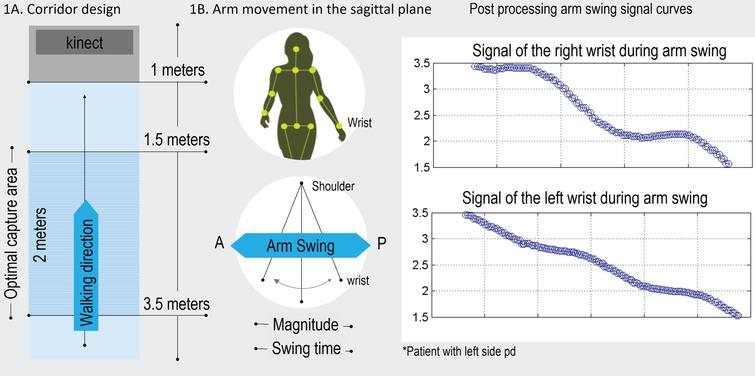 General setting and results obtained with e-Motion system. A) Capture area. B) Arm movement in the sagittal plane.