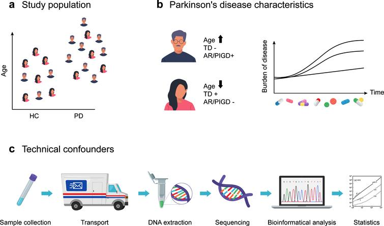 Differences in study populations and methodologies between gut microbiome studies in Parkinson's disease (PD). (a) Study populations differed in age and sex distributions, sample size, geographical background, and the extent to which gastrointestinal confounders of gut microbiome composition were assessed. (b) Differences in PD subtypes, disease duration and PD medication regimen were linked to gut microbiome composition changes. (c) Sample collection procedures, transport conditions, DNA extraction, sequencing and the analytical and bio-informatics pipelines are known technical confounders of gut microbiome composition studies and differed across gut microbiome studies in PD. TD, tremor dominant subtype; AR/PIGD, akinetic rigid and/or postural instability and gait disorders subtypes; HC, healthy controls.