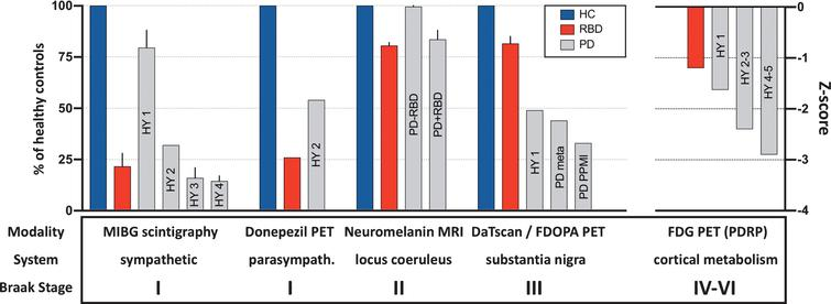 "Summary of imaging modalities used to measure relevant neuronal systems. The healthy control mean (blue) was set to 100% in each study, and the percentage reduction in the patient groups calculated. In cases with more than one study, the standard deviation is depicted by whiskers. Cardiac sympathetic innervation was measured with 123I-MIBG scintigraphy; intestinal cholinergic (parasympathetic) innervation with 11C-donepezil PET; integrity of pigmented locus coeruleus neurons with neuromelanin-sensitive MRI; nigrostriatal dopaminergic synaptic function with 123I-FP-CIT SPECT or 18F-DOPA PET; cortical glucose metabolism with 18F-FDG and principal component analysis to quantify the PD related network (PDRP) z-score. The corresponding Braak stages are shown in the bottom row. Patients with idiopathic RBD (red) show marked loss of autonomic and locus coeruleus imaging parameters, but only minor dopaminergic terminal loss and only slight perturbation of cortical metabolism. The opposite pattern is seen for H&Y stage I-II PD patients. Concerning annotations to PD data: ""HY"" shows data from different H&Y stage data sets; ""PD meta"" shows the mean % reduction in PD patients' DaTscan putamen binding from a metaanalysis [31], and ""PD PPMI"" the % putaminal reduction seen in early PD patients from the PPMI data set [35]. [Note that except for PDRP z-scores, the imaging parameters approximate loss of specific binding, i.e. heart/mediastinum ratio – 1 for MIBG; SUV – 1 for donepezil; locus coeruleus/pons – 1 for neuromelanin MRI; putamen/occipital cortex – 1 for FP-CIT & FDOPA. For didactic purposes the PDRP z-scores are listed as negative in this figure in contrast to common practice. See main text for study references.]"