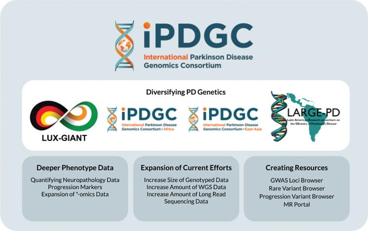 Overview of the past and future work of the IPDGC. WGS, whole-genome sequencing; MR, Mendelian Randomization.