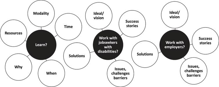 """Knowledge-need framework for the qualitative inquiry: """"How do people in the employment service professional field learn, how do they work with job seekers with disabilities, and how do they work with employers?"""""""