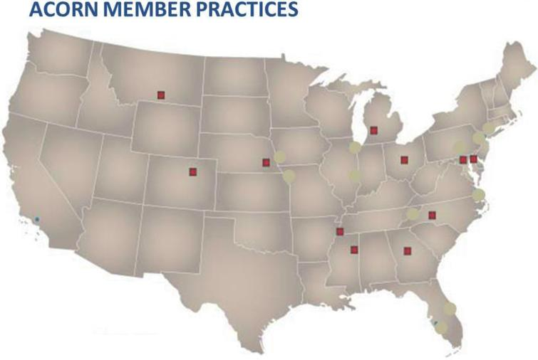 Geographic locations of practices encompassing the ACORN network that contributed to this study.