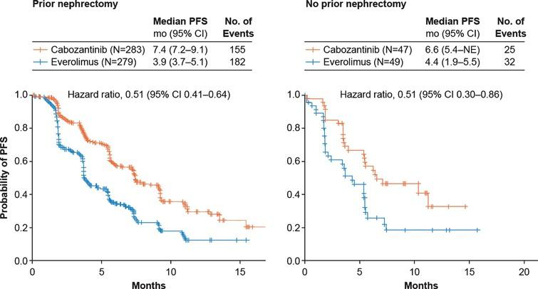 Kaplan-Meier analyses of progression-free survival. Disease progression was assessed by an independent radiology committee. Data are through May 22, 2015. CI, confidence interval; PFS, progression-free survival; NE, not estimable.