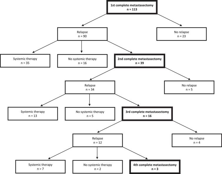 Flow chart of the clinical course of 113 included patients during follow-up.