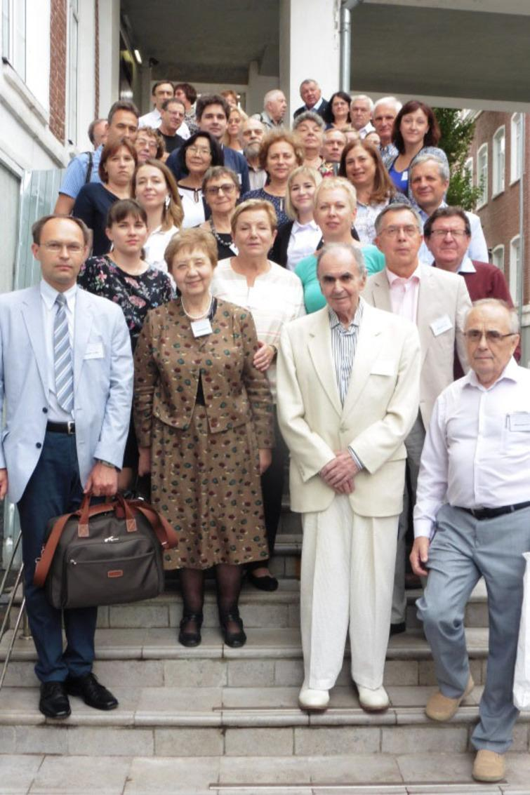 """I-st conference """"Application of multivariate statistical analysis in economics and life quality measurement"""" (Moscow, 2018).In the centre of the front row on the photo there are professor I. Eliseeva (to the left) and professor S. Aivazian (to the right)."""