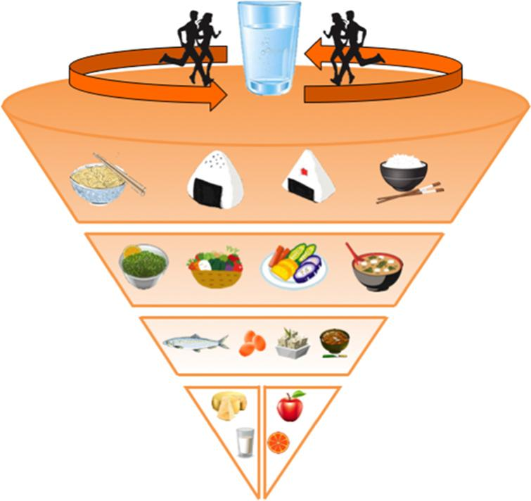 The Japanese food guide spinning top. Schematic representation of the food recommendations expressed by the Japanese government in 2005 and later revised in 2010 [145].