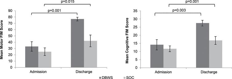 The mean Motor FIM and Cognitive FIM subscales on admission and discharge were greater for patients using the Zero G versus SOC.