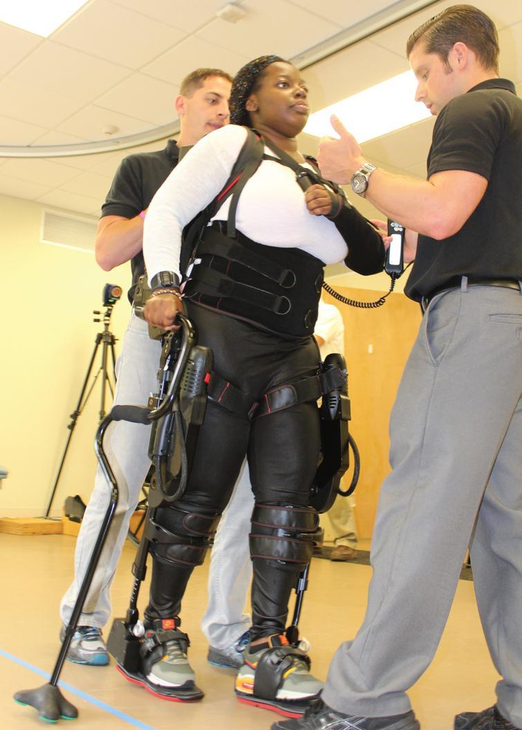 Participant gait training with Robotic Exoskeleton.