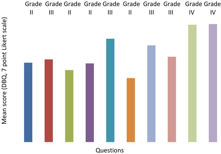 Mean score and grade of risky behaviours.