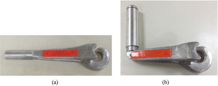 (a) Conventional valve-wrench; and (b) Ergonomically modified valve-wrench.