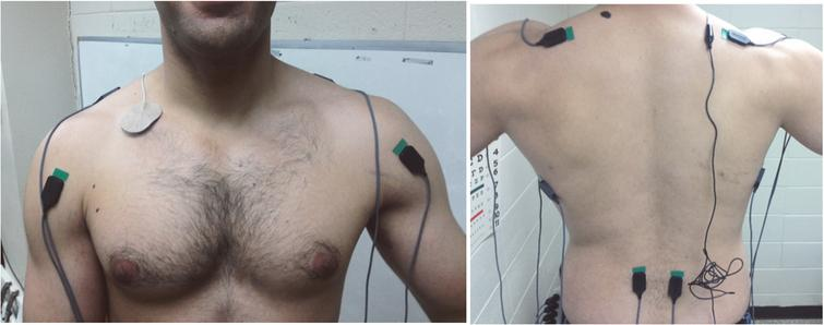The exact location and positioning of each electrode for the anterior deltoid, trapezius, latissimus dorsi, and erector spinae (Konrad, 2005).