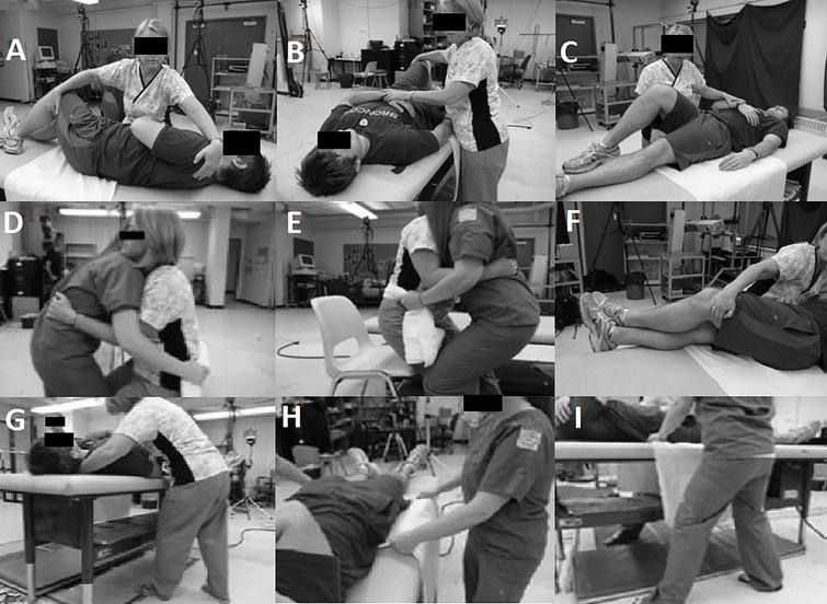 Example manual patient handling pictures that would accompany detailed descriptions on how to properly perform the recommended techniques. A: Turn Toward initiation; B: Turn Toward; C: Turn Away; D: Sit-to-Chair lift; E: Sit-to-Chair lower; F: Lie-to-Sit hand position; G: Lie-to-Sit foot position; H: Reposition hand position; I: Reposition foot position.