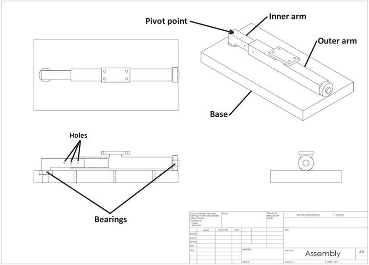 Horizontally dynamic armrest assembly drawing.