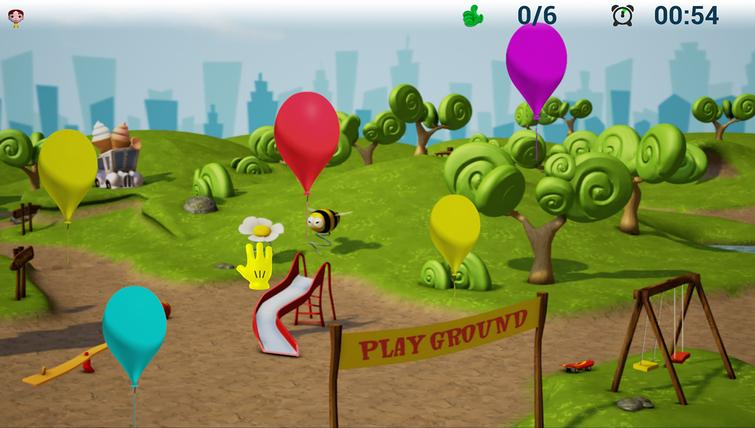 """An example of game activity: the """"blow the balloons game""""."""