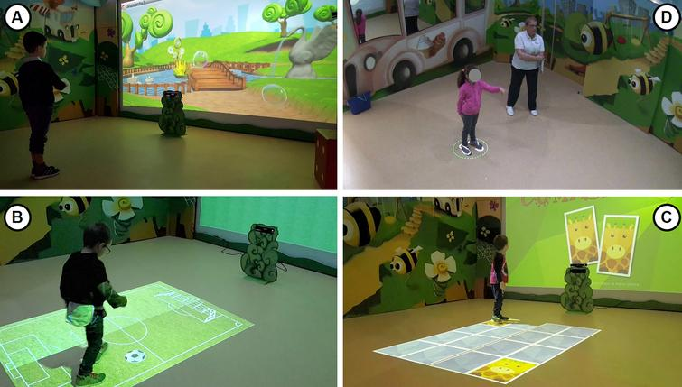 The hi-tech room in use: (a) a game being played using VITAMIN software, with the images projected onto the frontal screen; (b) a typical rehabilitation session; (c, d) other exercises performed using images projected onto the floor.