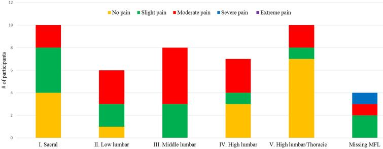 Self-reported severity of current pain in relation to muscle function level.