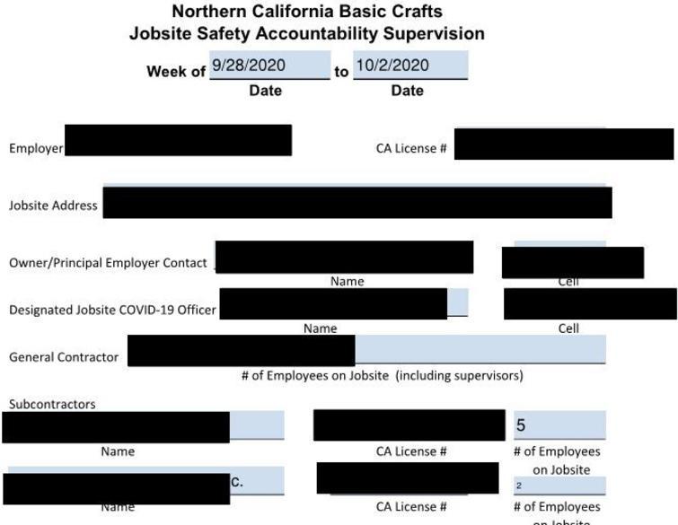 Weekly JSAS report.