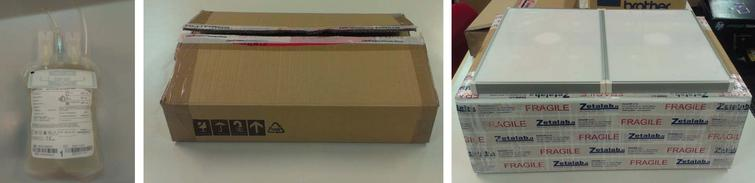 Tagged blood bag (a); cardboard container used for the tests (b); near field antennas setup (c).
