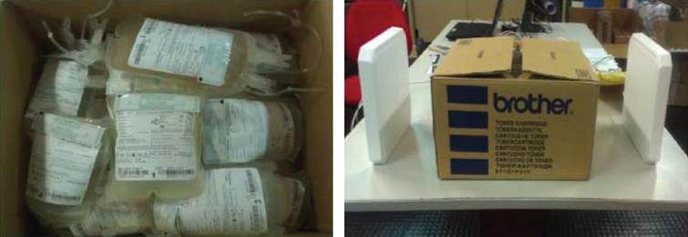 Tagged blood bags in the cardboard container used for the tests (a); container and far field antennas setup on the wooden table.