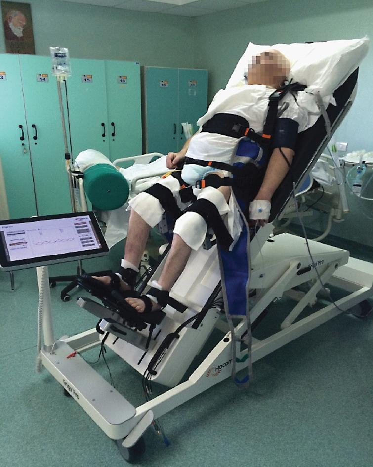 ERIGO device combines progressive verticalization, cyclic leg movements in combination with step synchronized muscle functional electric stimulation at lower limb (that allow stepping reinforcement), and body weight loading, in an attempt to ensure the safe stabilization in the upright position of the patient.