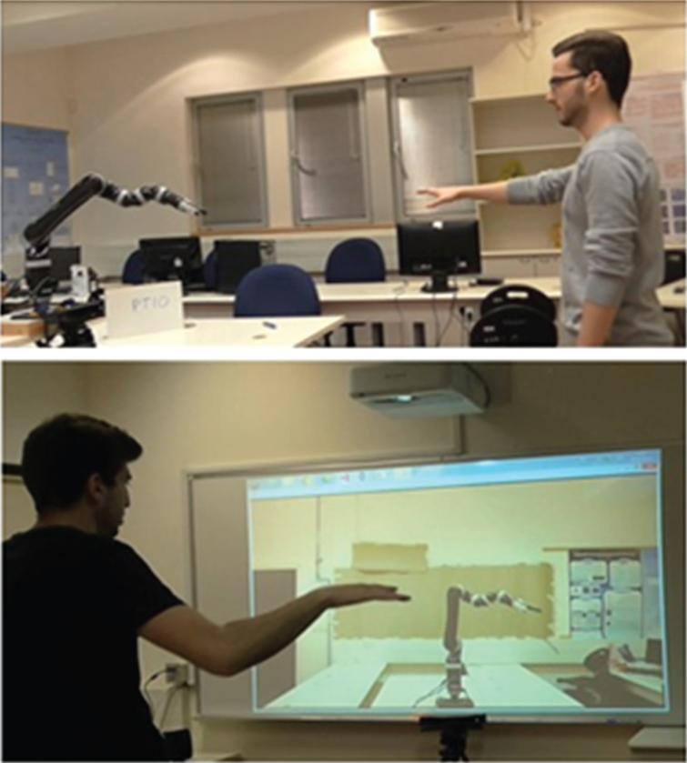 The experimental setup in (Levy-Tzedek et al., 2017). Top: a participant playing with the robotic arm. Bottom: a participant playing with the projection of the robotic arm on a screen.