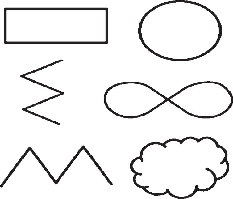 The shapes outlined by the robotic arm. Left column: The sharp movements Rectangle, Horizontal zigzag and Vertical zigzag. Right column: Circle, Infinity sign and Cloud.