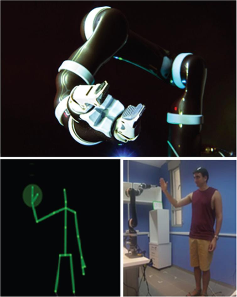 Experimental equipment. Top: The Kinova MICO robotic arm, which served as a partner in the mirror game. Bottom: a demonstration of the real-time location of the participants' hand captured and displayed via a Kinect 2.0 camera (Left), as the participant interacted with the robotic arm (Right).