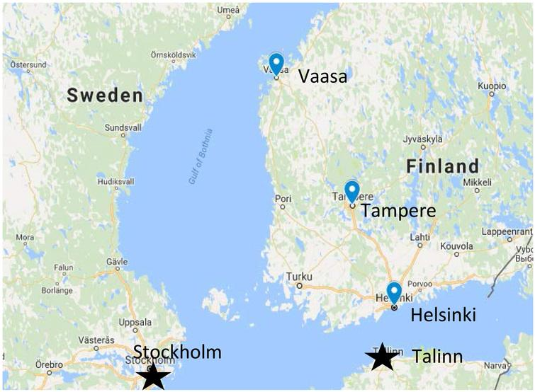 Locations in Finland noted in Asta's life.