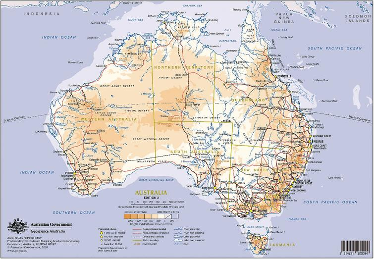 Australian map. Source: Geoscience Australia, 1993.