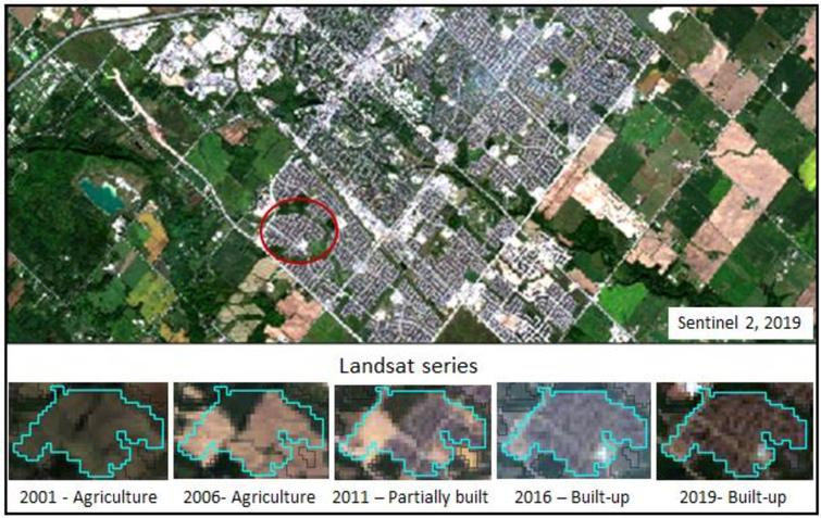 Changes observed in polygon 688 from Landsat series, 2001 to 2019.