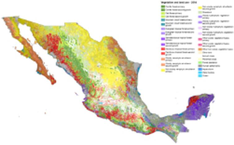 Mexico map of ecosystem extent. Source:[36].