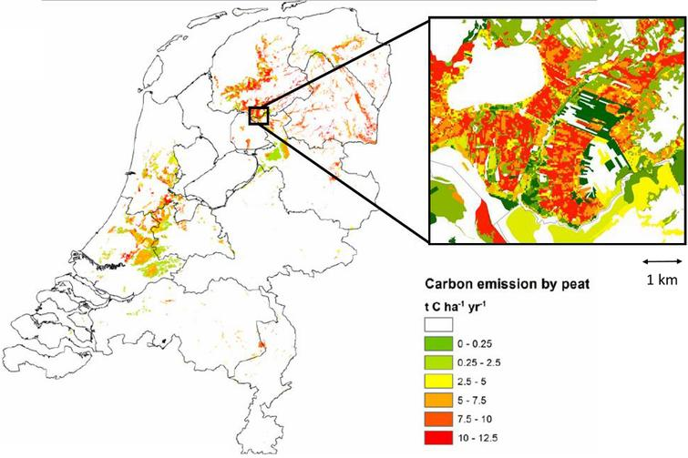 Carbon account map for the Netherlands, showing carbon emissions from peatland drainage. Source:[37].
