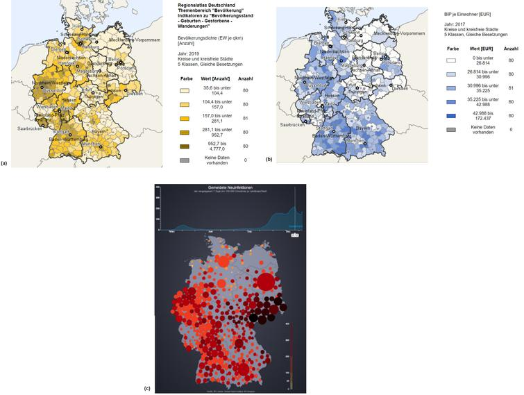 a. Population density in 2019. b. GDP per capita in 2017. c. Peak of new COVID-19 infections in Germany on December 23rd, 2020.
