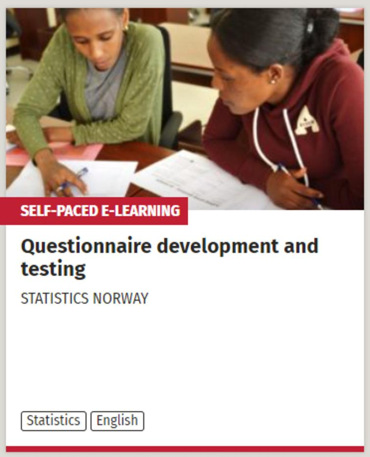 The e-learning course development by Statistics Norway on Questionnaire Development and testing is linked to from the UN SDG:learn statistics pages.