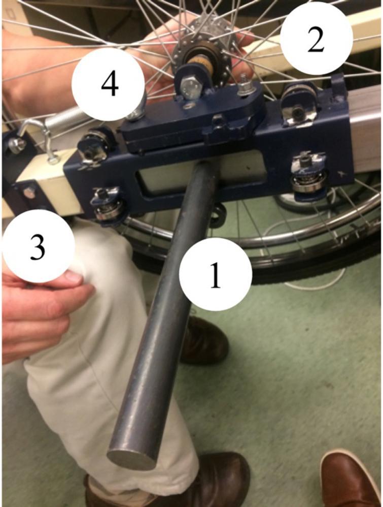 Truck of LeTourneau machine (1) Weight bar, (2) Roller bearings, (3) Camber adjustment, (4) Toe adjustment.