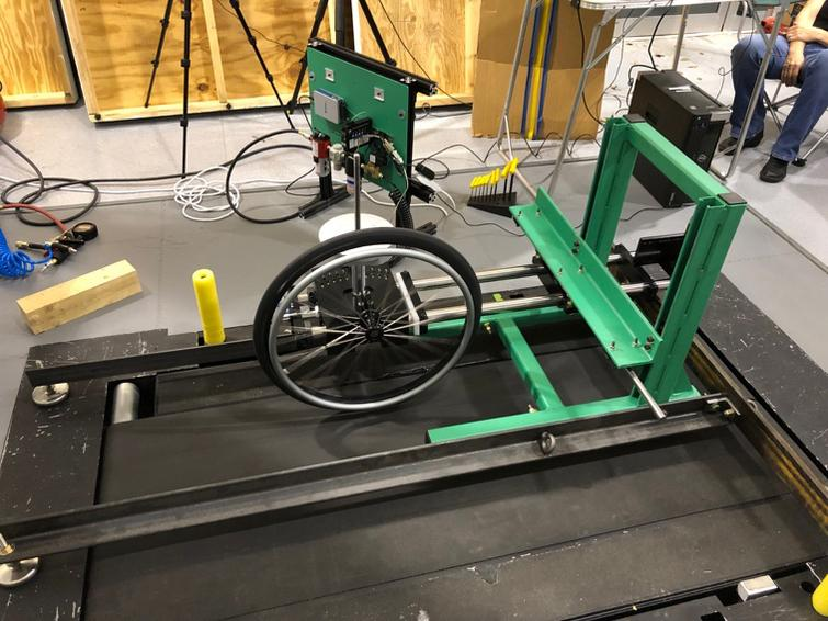 Treadmill testing with the upper frame and arm assembly.