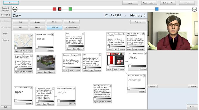 The digital diary filled in with an example memory. The items show text, maps, emotion words and images. The bar at the top shows the memory on a timeline. The virtual agent is shown on the right. This screenshot is translated into English; all participants worked with the original Dutch version.