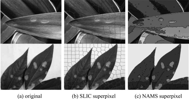 Comparison of segmented images of SLIC and NAMS superpixel method.